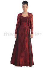 TheDressOutlet MOB Taffeta Plus Size Party Long Dress with Long Sleeve Jacket