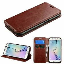BROWN Case Leather Flip Wallet Pouch Cover Stand For Samsung GALAXY S6 Edge G925