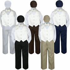 5pc Boy Suit Set Ivory Vest Bow Tie  Baby Toddler Kid Formal Hat Pants S-7