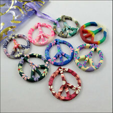 Wholesale New Charms Mixed Polymer Fimo Clay Peace Sign Pendants 29x31mm