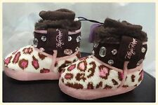 BLAZIN' ROXX Girls Kids Infant Brown Pink Slippers Boots House Shoes 5702002 NWT