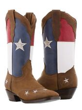 Women's Texas Flag Cowboy Boots Handmade Real Leather Brown Western Square Toe