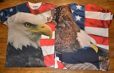 2 Sided Graphic USA America Eagle Flag  Active Wear T-Shirt Tee 100% Polyester