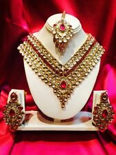 Bollywood Indian Bridal Necklace Earrings Tikka Jewellery Party Wear Magenta #S2