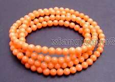 """SALE Beautiful Small Round natural 5-6mm pink coral 30"""" bracelet/Necklace-bra297"""