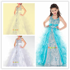 Blue Baby Princess Bridesmaid Flower Girl Dresses kids Wedding Dress children-G