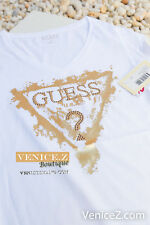 BNWT GUESS Triangle Logo Signature Tee T-shirt White Gold Motif Size XS S M L