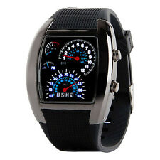 Mens Lady Aviation Turbo LED Dial Flash movement Watches Gift Sports Car Meter