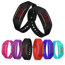 Sports Mens Watches Womens Silicone LED Show Date Bracelet Digital Wrist Watches