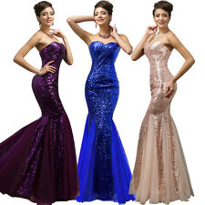 Strapless Mermaid Tulle Evening Prom Party Dress Formal Long Sequins Crystal New