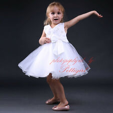 Girls Bow Beaded Tulle Party Dresses Princess Wedding Bridesmaid Recital Pageant