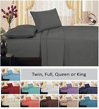 1800 Series Brushed Microfiber Embroidery Vine Sheet Set, Pillowcases, Gray, NEW