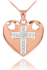 14K Rose Gold Heart Cross Diamond Pendant Necklace