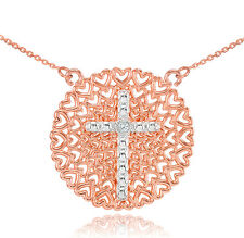 14k Rose Gold Filigree Heart Cross Diamond Pendant Necklace
