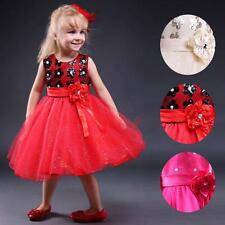Infant Kids Sequined Flower Tulle Girl Dress Pageant Wedding Party Xmas Dresses
