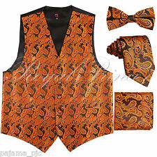 Rust Orange Paisley Tuxedo Dress Vest Waistcoat & Neck tie & Bowtie And Hanky