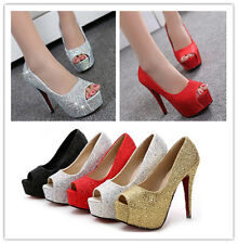 Women Top Fashion Peep Toe Crystal Platform High Heel Wedding Shoes Sexy Pumps
