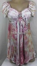 Womens Maternity Shirt Top White Multi Color Paisley Cap Sleeve Blouse Size S