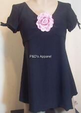 Womens Maternity Shirt Top Black Pink Flower Cap Sleeve Blouse Size S M New
