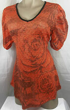 Womens Maternity Shirt Knit Top Blouse Orange Flower Print Size S New
