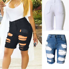 Womens Ripped Distressed Denim Knee Length Shorts Skinny Jeans Ripped Jeans