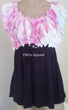 Maternity Womens Shirt Top White Pink Black Cap Sleeve Blouse Size S New