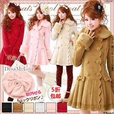 Japanese Sweet Lolita Elegant Bow Long Woolen Princess Winter Overcoat Coat Cute