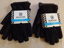 MEN'S ISOTONER ACTIVE/SMART TOUCH TECH BLACK WINTER GLOVES W/THERMA FLEX LINING
