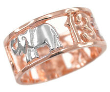 Two-tone Rose Gold Lucky, Owl, Elephant, Horseshoe, Thirteen, Cross Unisex Ring