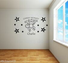 Cheeky Monkey stars  Wall Decal Sticker personalised with any name   Boys  Girls