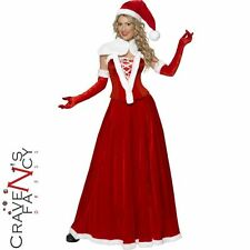 Deluxe Ladies Mrs Claus Costume Santa Father Christmas Fancy Dress Outfit Miss