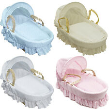 Broderie Anglaise Moses Basket Cream,Blue,Pink,White without or with stand