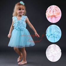 Toddler Tulle Girls Dresses Lace Flower Princess Wedding Bridesmaid Party Dress