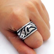 Men's Silver Tone Solid 316L Stainless Steel Wedding Band Ring US size 8 - 13