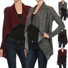 Women Marled Open Front Knit Long Sleeve Loose Fit Draped Cardigan Sweater