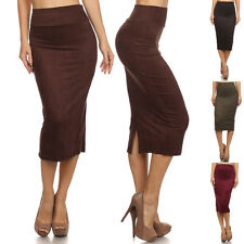 Solid High Waist Straight Faux Suede Knee Length Banded Waist Pencil Midi Skirt