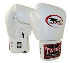 MUAY THAI KICK BOXING GLOVES TWINS SPECIAL MMA 8 10 12 14 16 18 OZ BGVL-3 WHITE