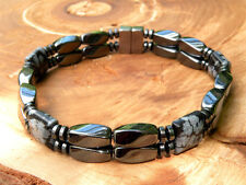 Mens Womens Magnetic Bracelet Anklet SUPER STRONG Clasp SNOWFLAKE OBSIDIAN 2row