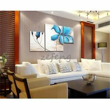 Hand Painted Oil Painting Blue Flowers 3 Panels Decoration- (Frame) - (No Frame)