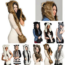 3in1 Women Girl Faux Animal Fur Hat Fluffy Dint Hood Scarf Shawl Glove Plush Cap