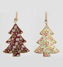 Shabby Vintage Chic Metal Rose Pattern Christmas Tree Xmas Hanging Decorations