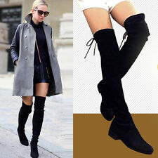 Size 5-10 Women Cow Leather Over the Knee Thigh High Flat Boots Slim Leg Booties