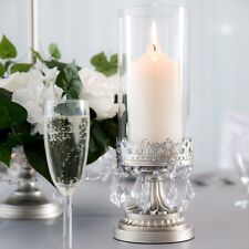 "HURRICANE CANDLE HOLDER Antique Crystal Glass Centerpiece Decor 4.5"" x 12.75"""