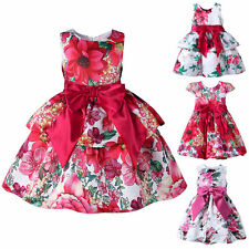 Toddler Kids Baby Girls Bow Flower Princess Dress Floral Party Wedding Pageant