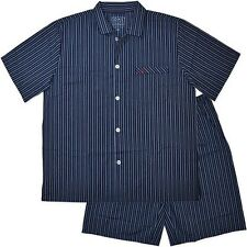 New Mens Summer Woven Short Navy Stripe Pyjamas Pjs Sleepwear Sizes S-4XL