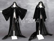 BLACK Velvet Game of Thrones Wizard Volturi Robe Cloak LARP Goth Wicca Costume