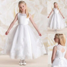 White Communion Party Princess Pageant Bridesmaid Wedding Flower Girl dress-G