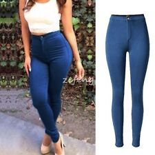 HOT Women Denim Skinny Pants High Waist Hole Stretch Jeans Slim Pencil Trousers