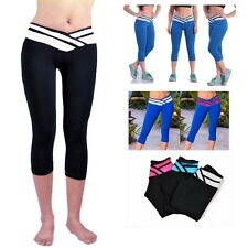 Women Sport Yoga Athletic Gym Workout Waistband Capri Leggings Pant S/M/L/XL E99