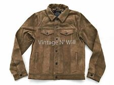 Lucky Brand Jeans Mens Tan Premium Suede Genuine Cow Leather Trucker Jacket